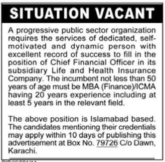 Situation Vacant in Islamabad, Dawn on 13-Sep-2011 | Jobs ...