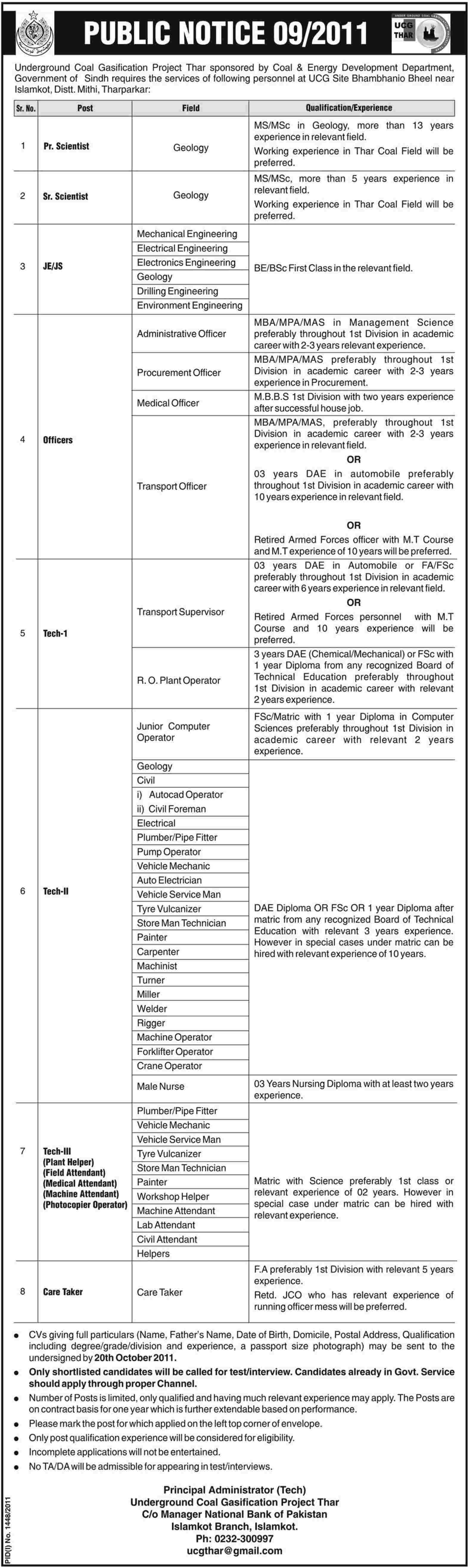Underground Coal Gasification Project Thar, Government of Sindh Required Staff