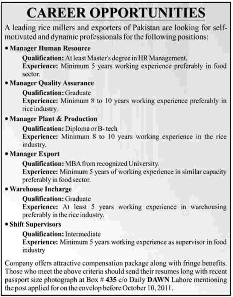 Managerical & Supervisory Staff Required by Rice Millers and Exporters of Pakistan