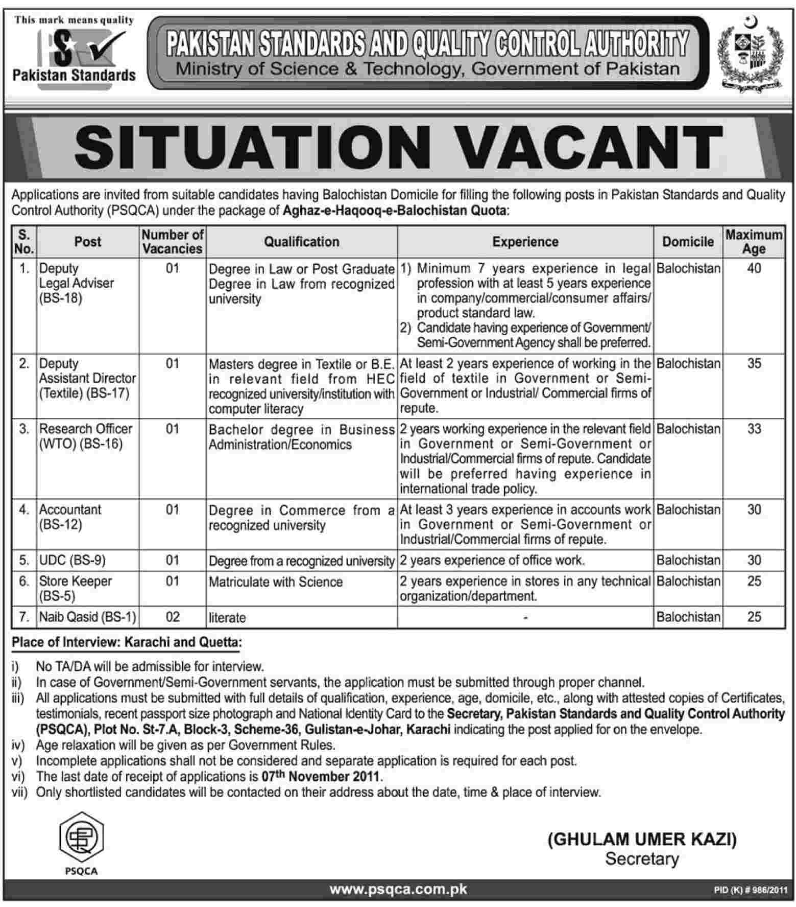 Pakistan Standards and Quality Control Authority, Jobs Opportunities