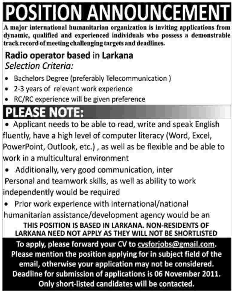 Radio Operator Based in Larkana Required by International Humanitarian Organization
