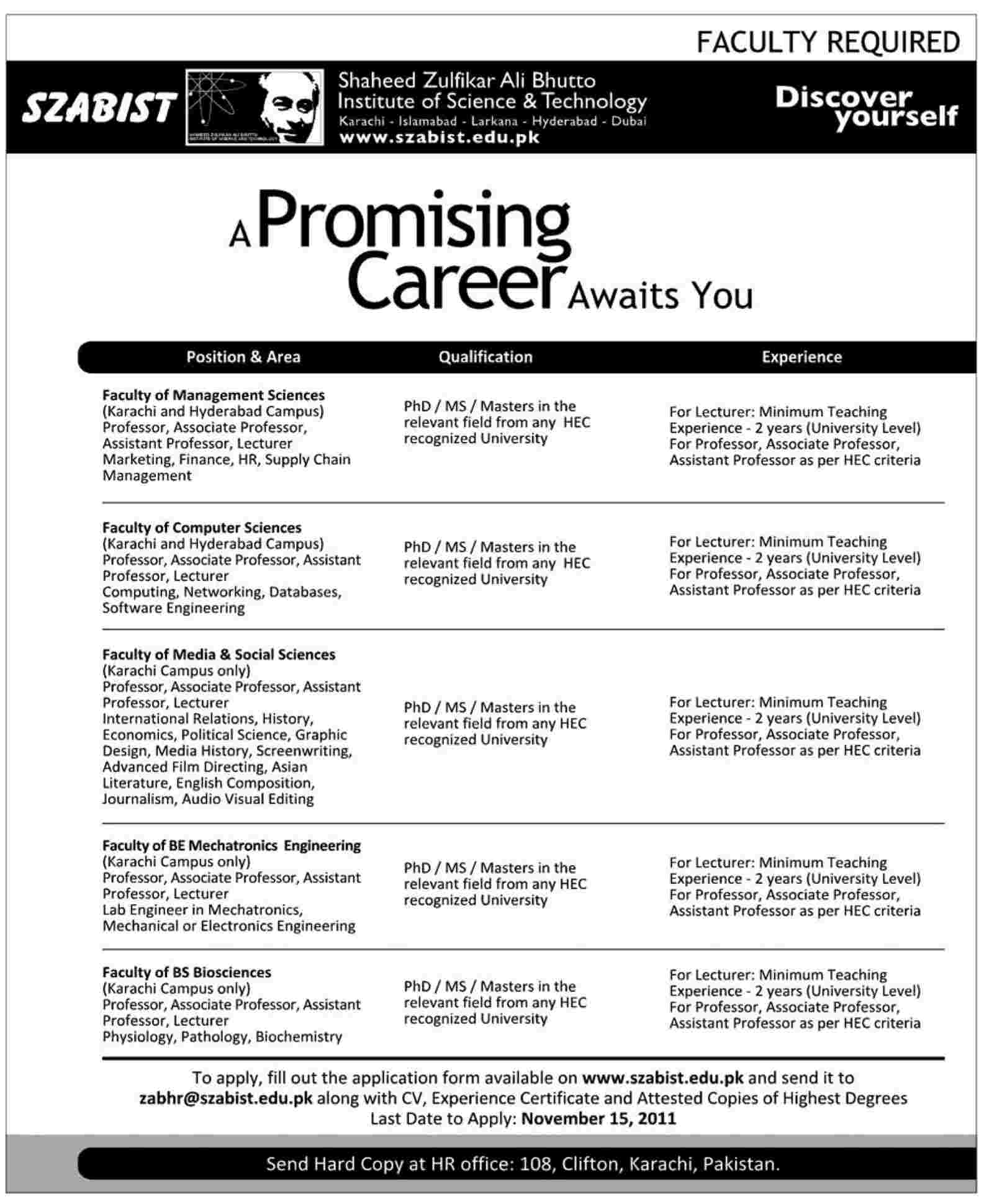 szabist required faculty in different departments in karachi szabist required faculty in different departments
