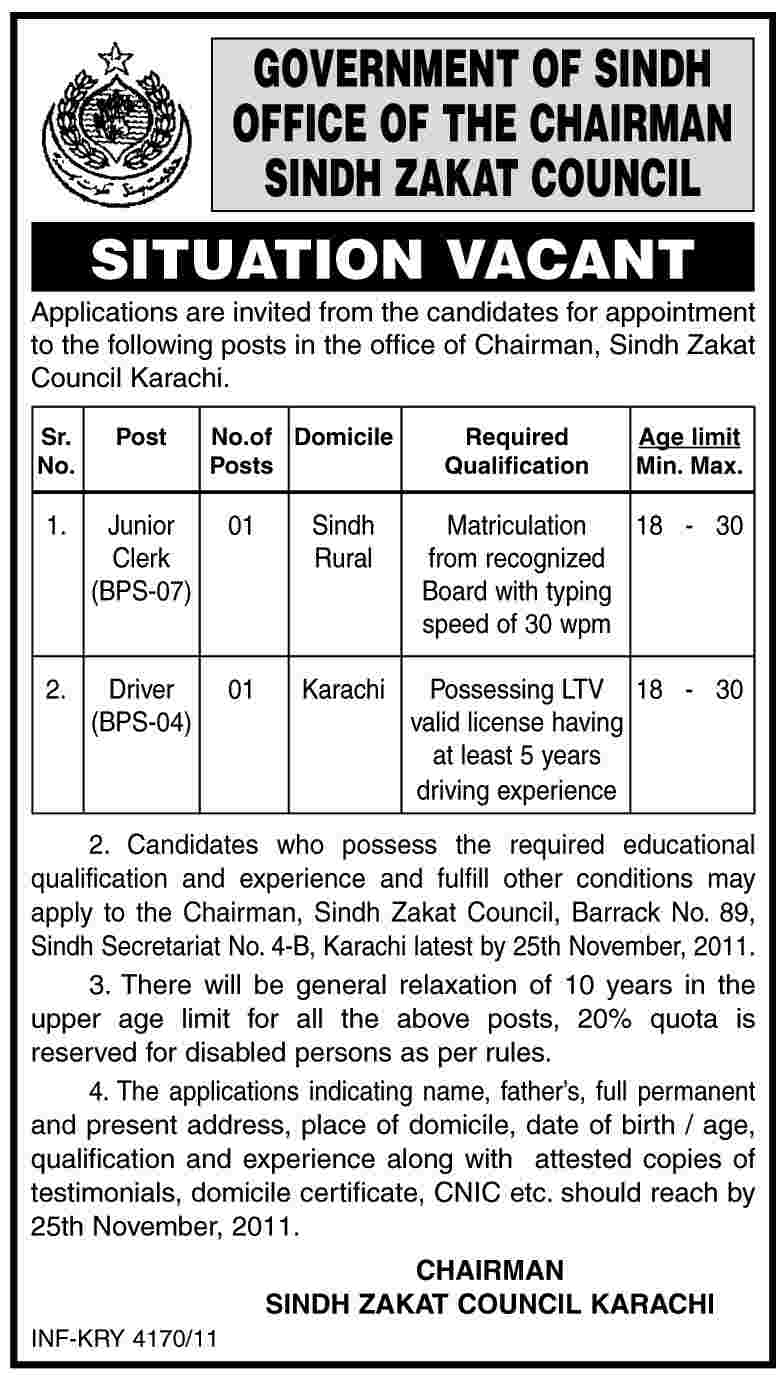 Office of the Chairman Sindh Zakat Council, Government of Sindh Jobs Opportunity