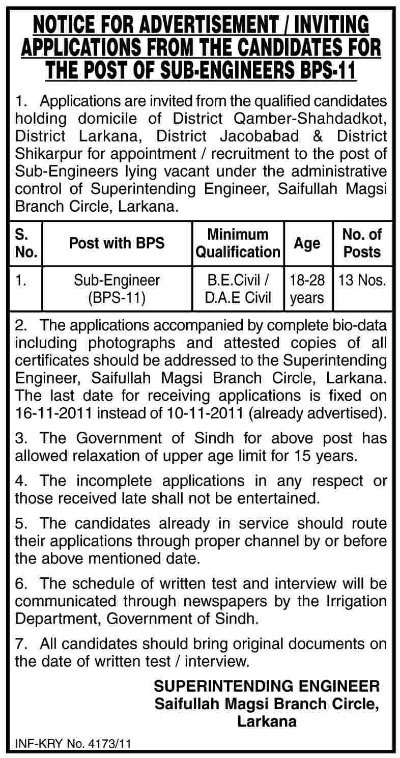 Sub Engineers Required by Sindh Government