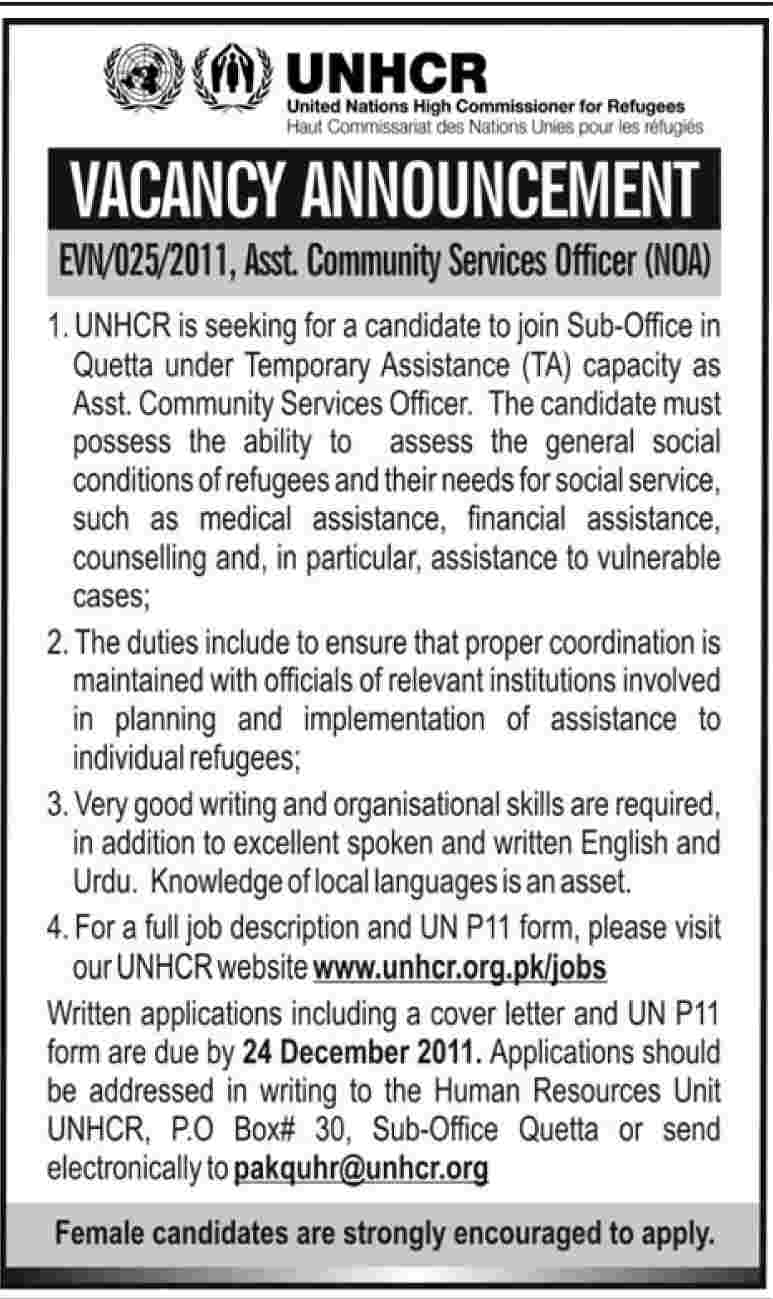 UNHCR Required Assistant Community Service Officer in Quetta, Dawn ...