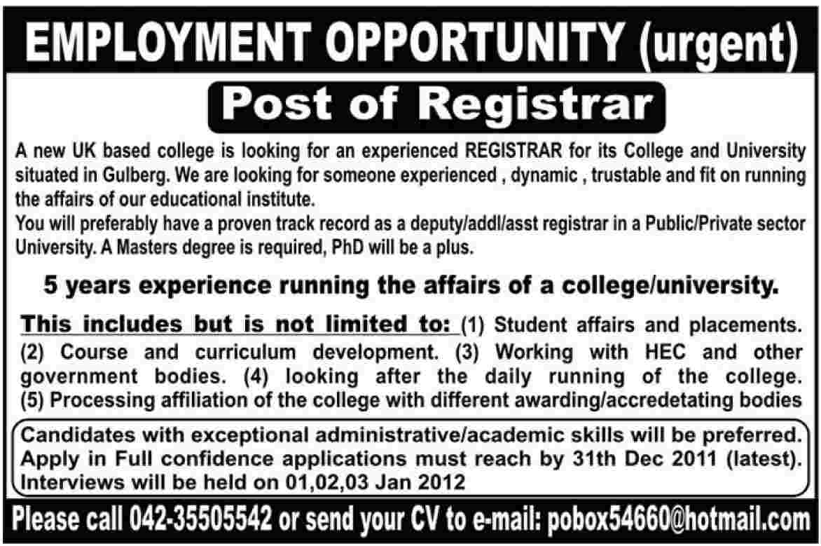 UK Based College in Lahore Required Registrar