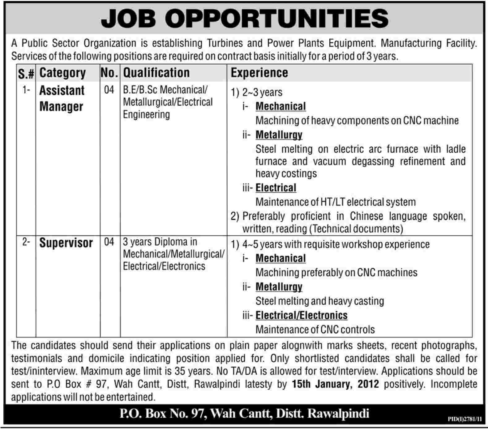 Public Sector Organization Required Assistant Managers and Supervisors