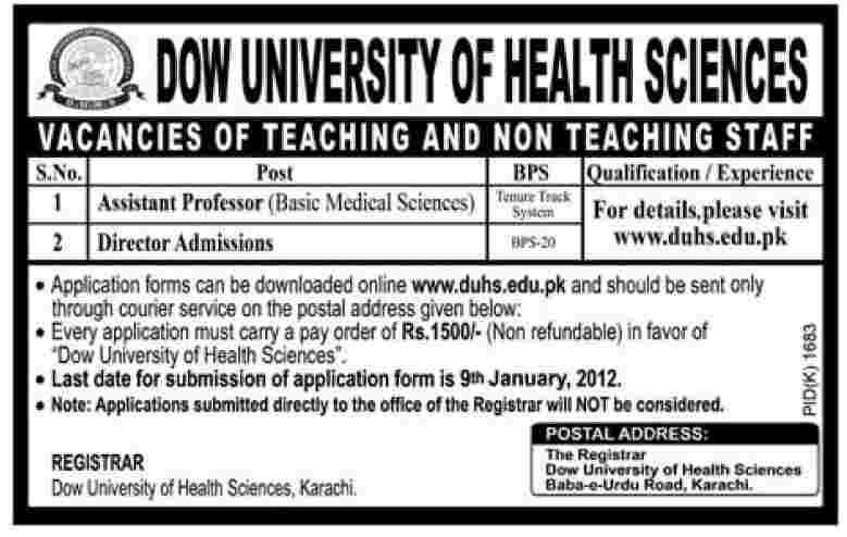 DOW University of Health Sciences Jobs Opportunities