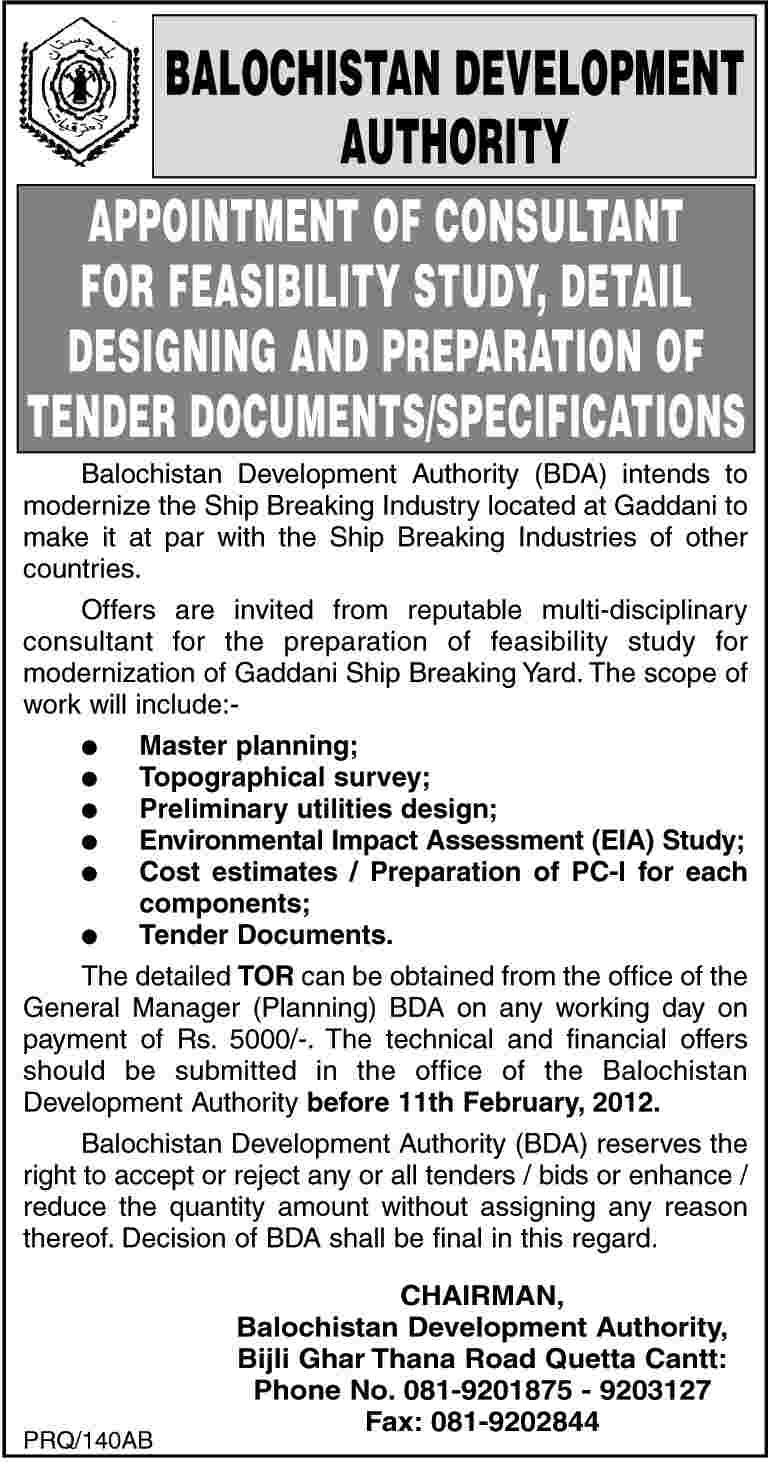 Balochistan Development Authority Required The Services Of