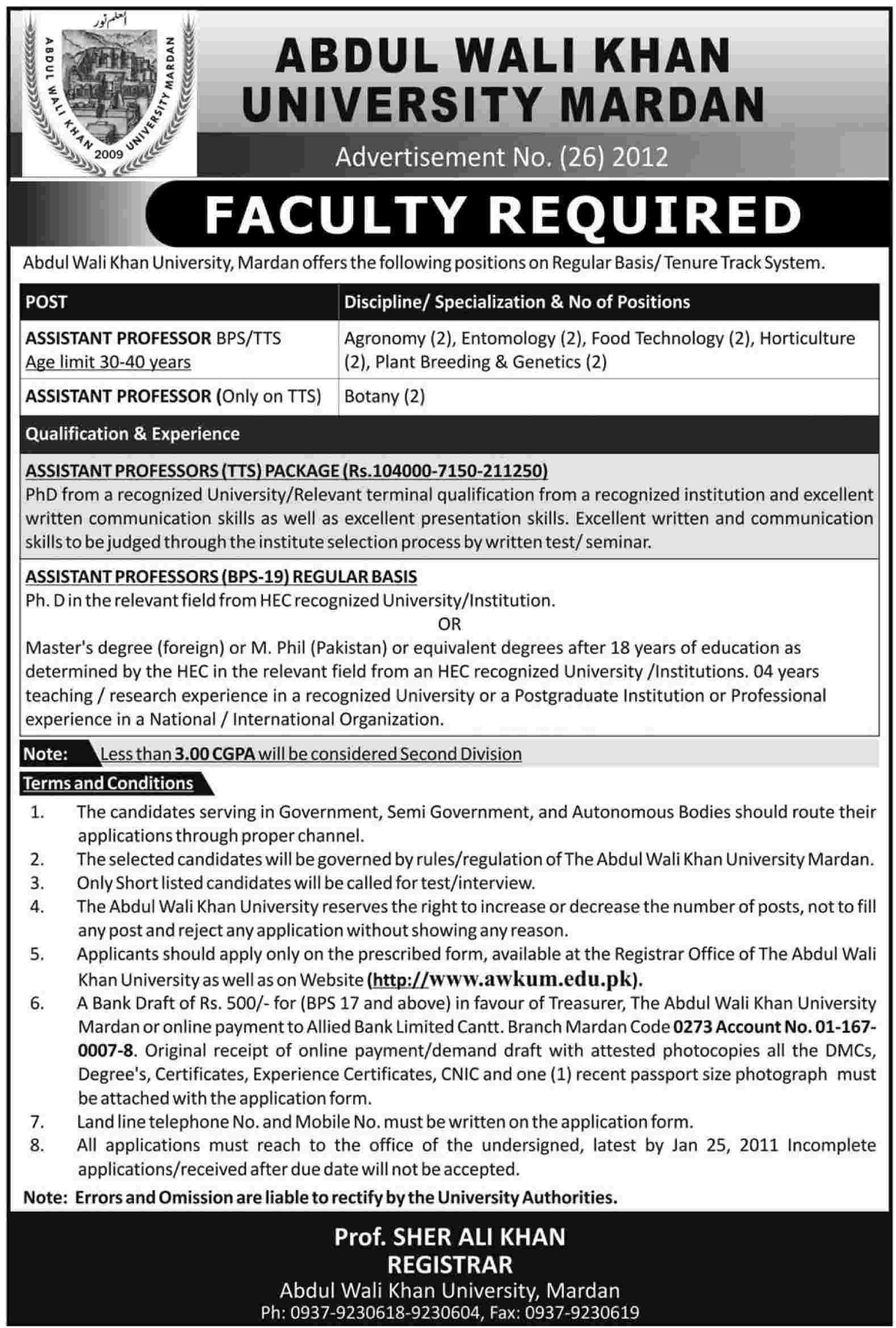 Abdul Khan Wali, University of Mardan Required Faculty