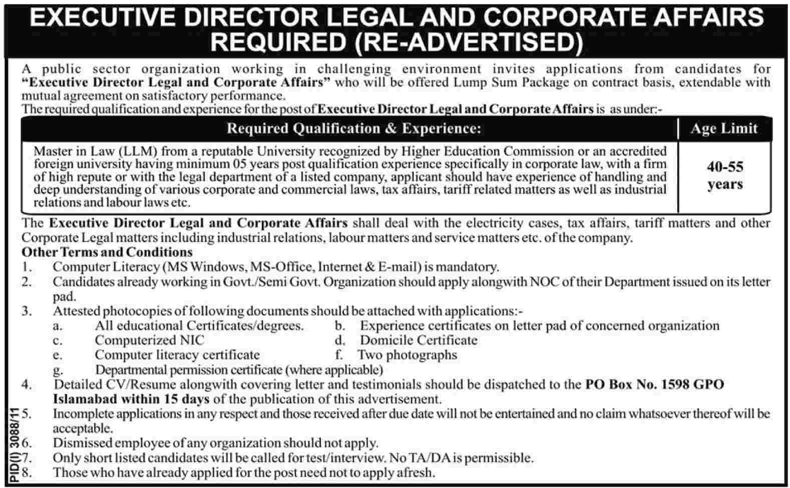 Executive Director (Legal & Corporate Affairs) Required by a Public Sector Organization