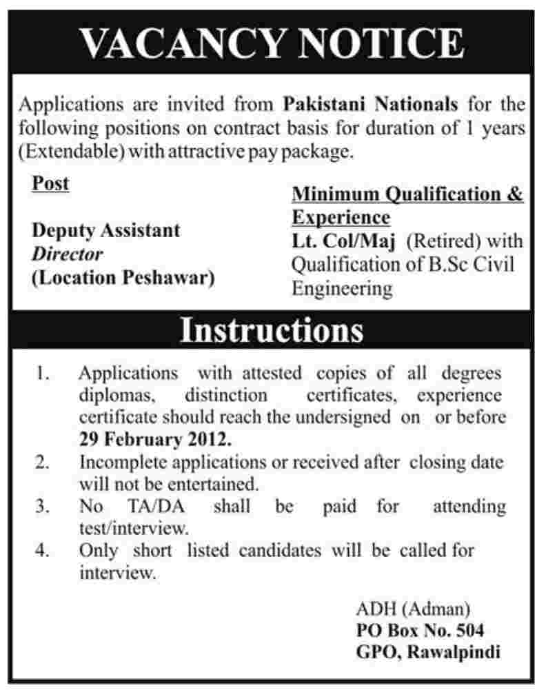 Deputy Assistant Director Required in Peshawar