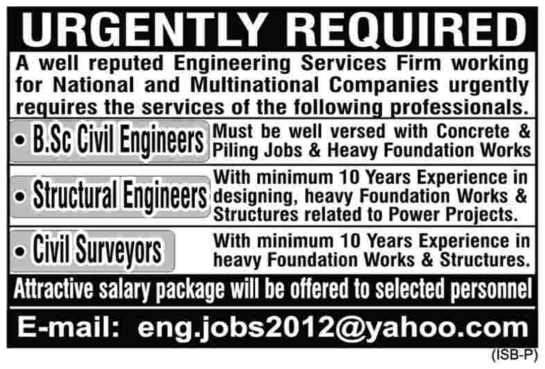 Engineers and Surveyors Required by National and Multinational Companies