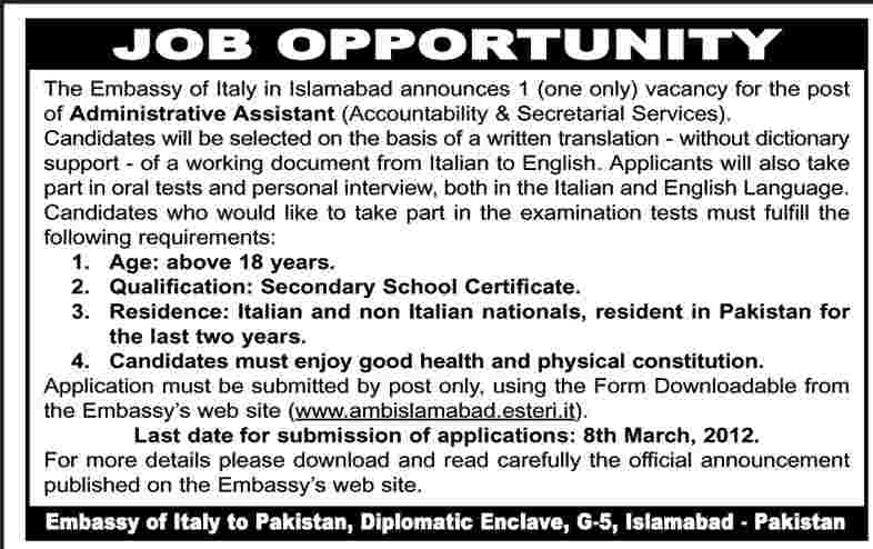 The Embassy Of Italy In Islamabad Required Administrative