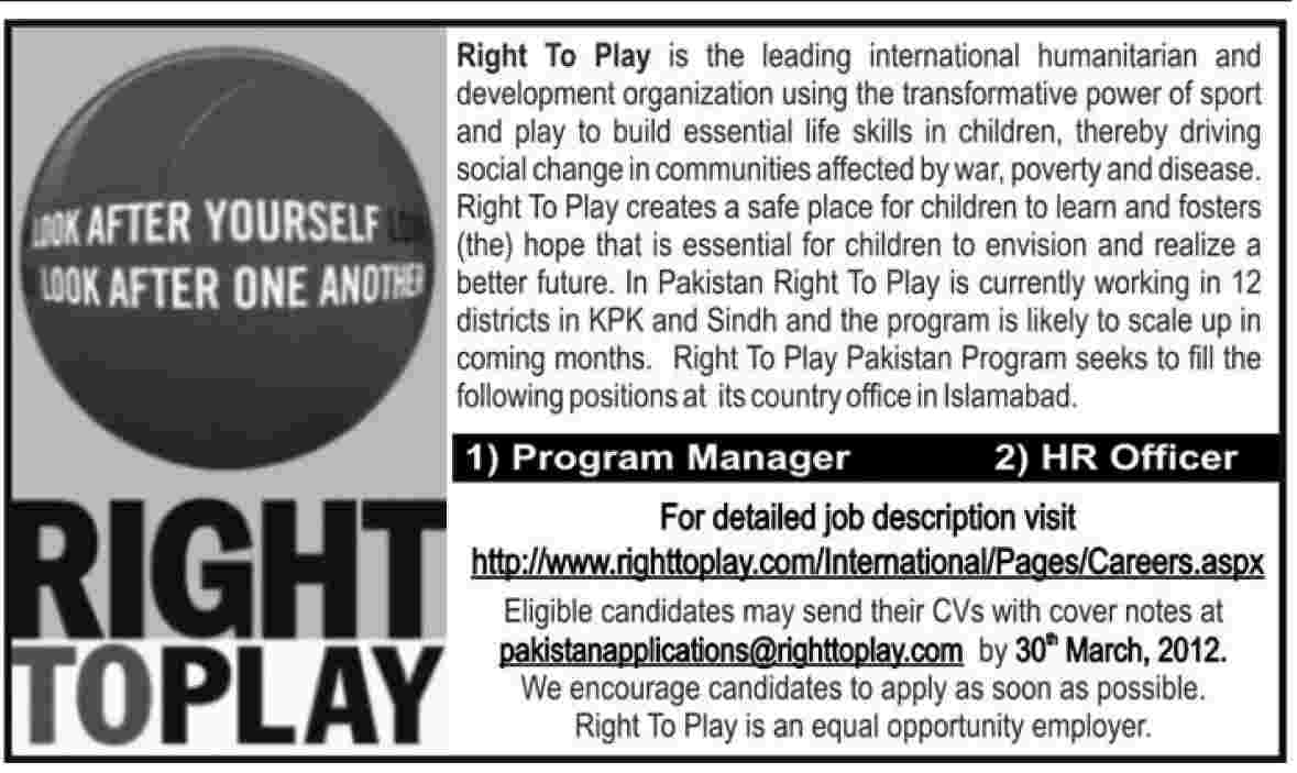 Right to Play (NGO Jobs) Requires Program Manager and HR Officer