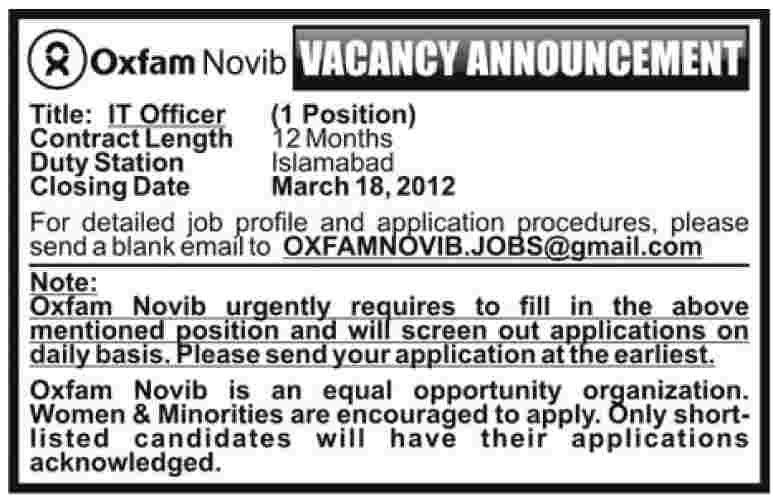 Oxfam (NGO) IT Officer Jobs