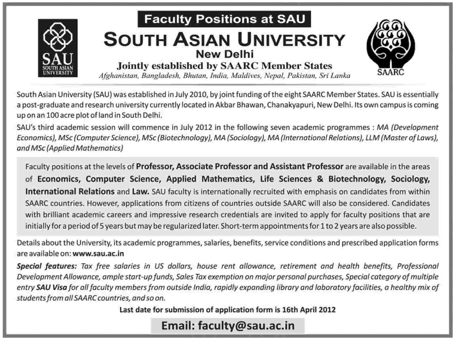South Asian University Requires Faculty