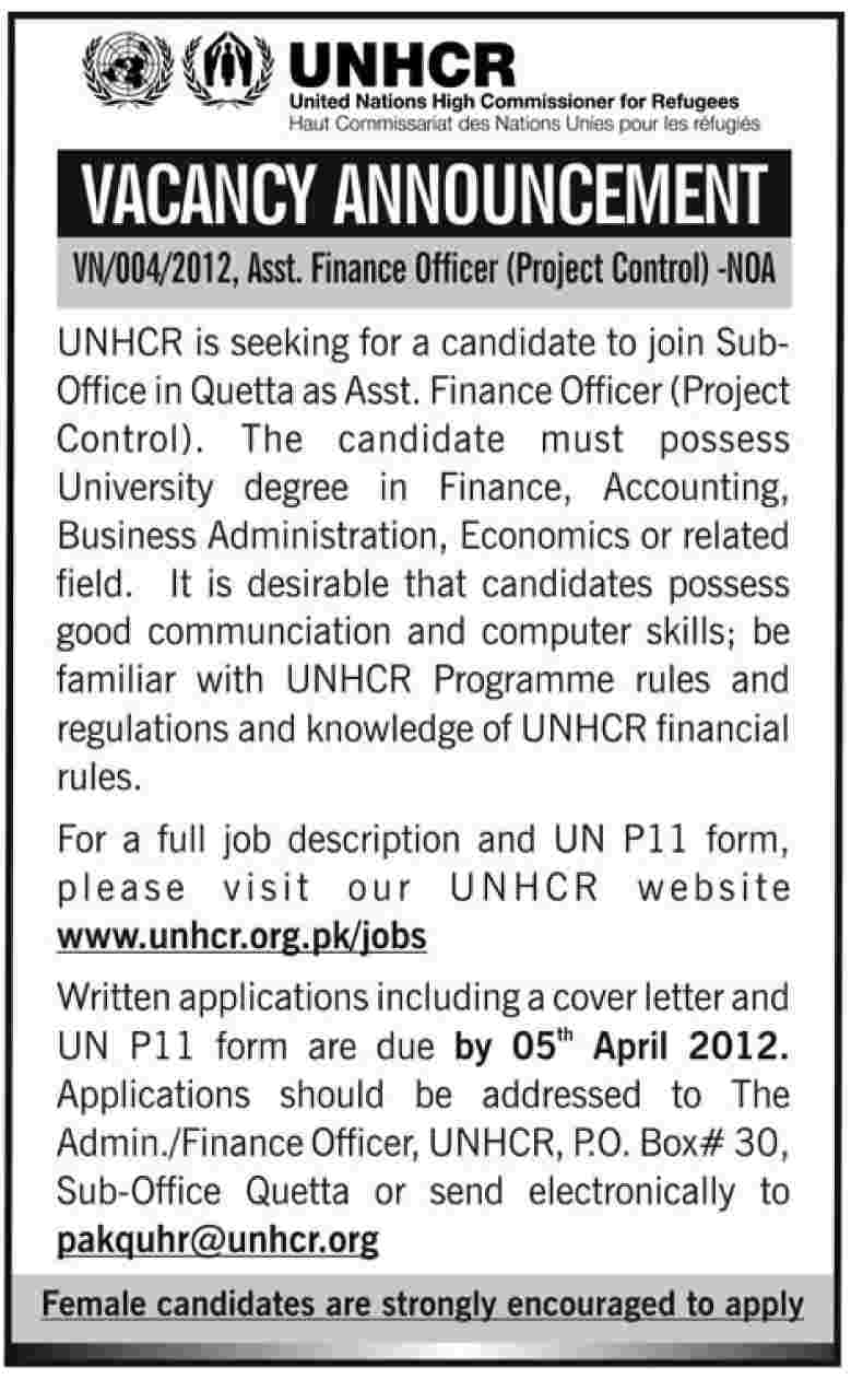 UNHCR (United Nations High Commissioner for Refugees Jobs) Requires Assistant Finance Officer