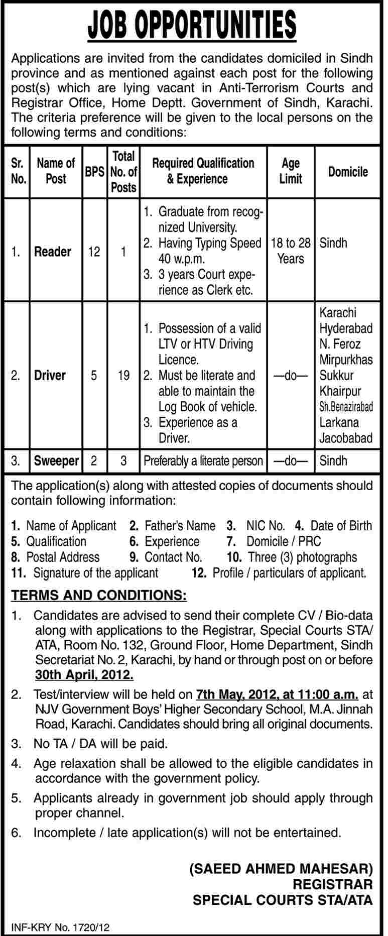 Anti-Terrorism Court and Registrar Office, Home Department Govt. of Sindh Jobs