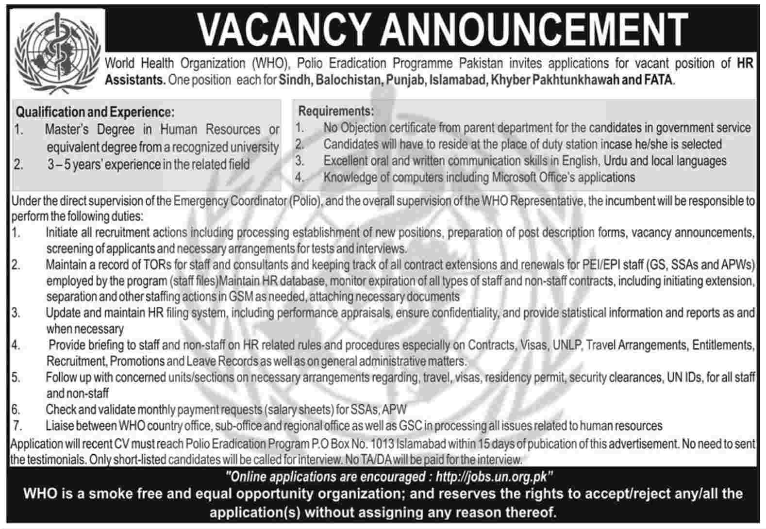 HR Jobs at W.H.O, Polio Eradication Programme