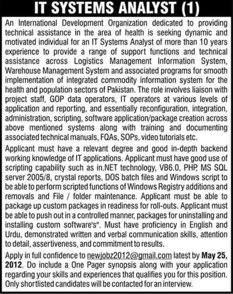It System Analyst Required At Private Organization In Pakistan Dawn