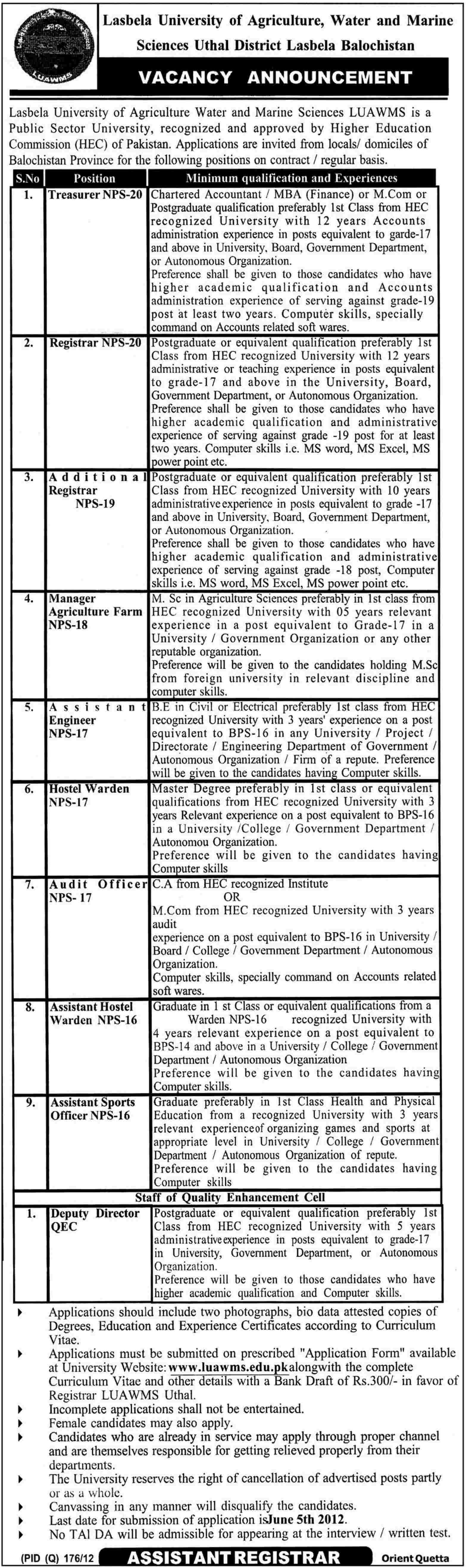 Administrative Jobs at Lasbela University of Agriculture, Water and Marine Sciences