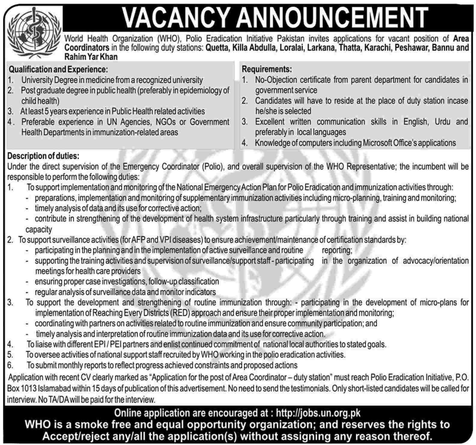Area Coordinator Job at W.H.O Polio Eradication Initiative Pakistan