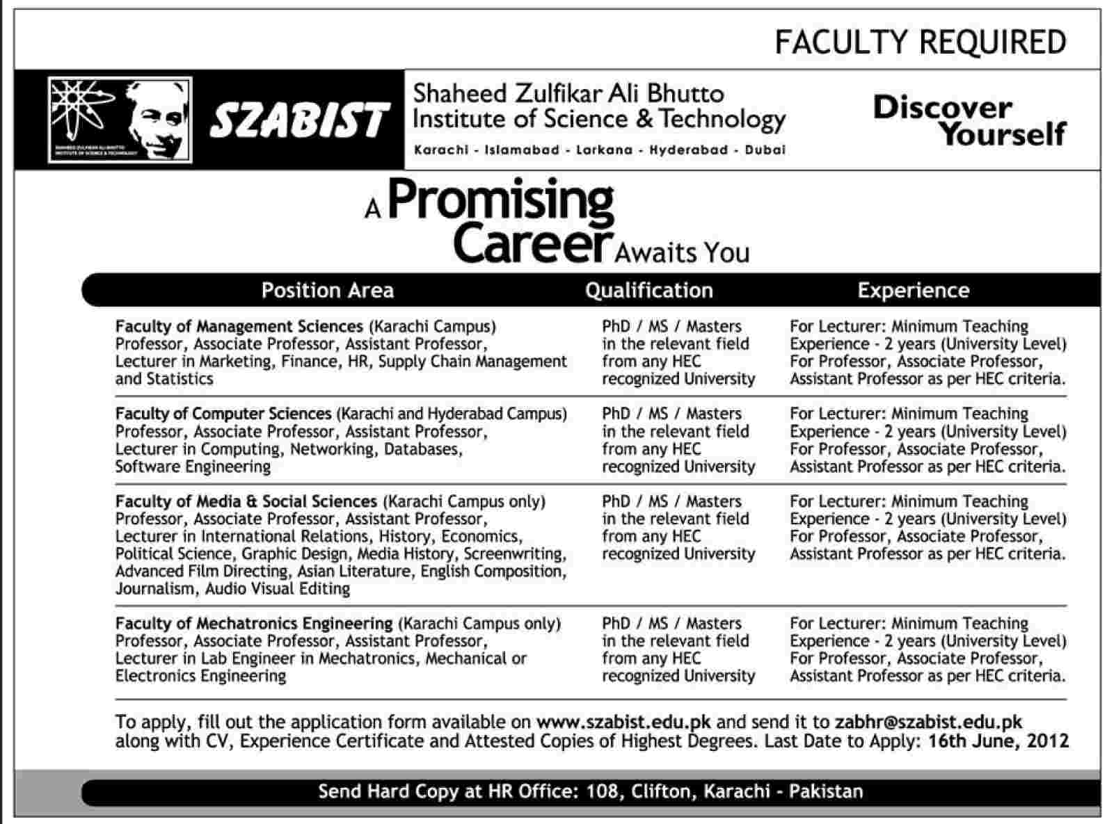 teaching faculty required at szabist in karachi dawn on 27 teaching faculty required at szabist