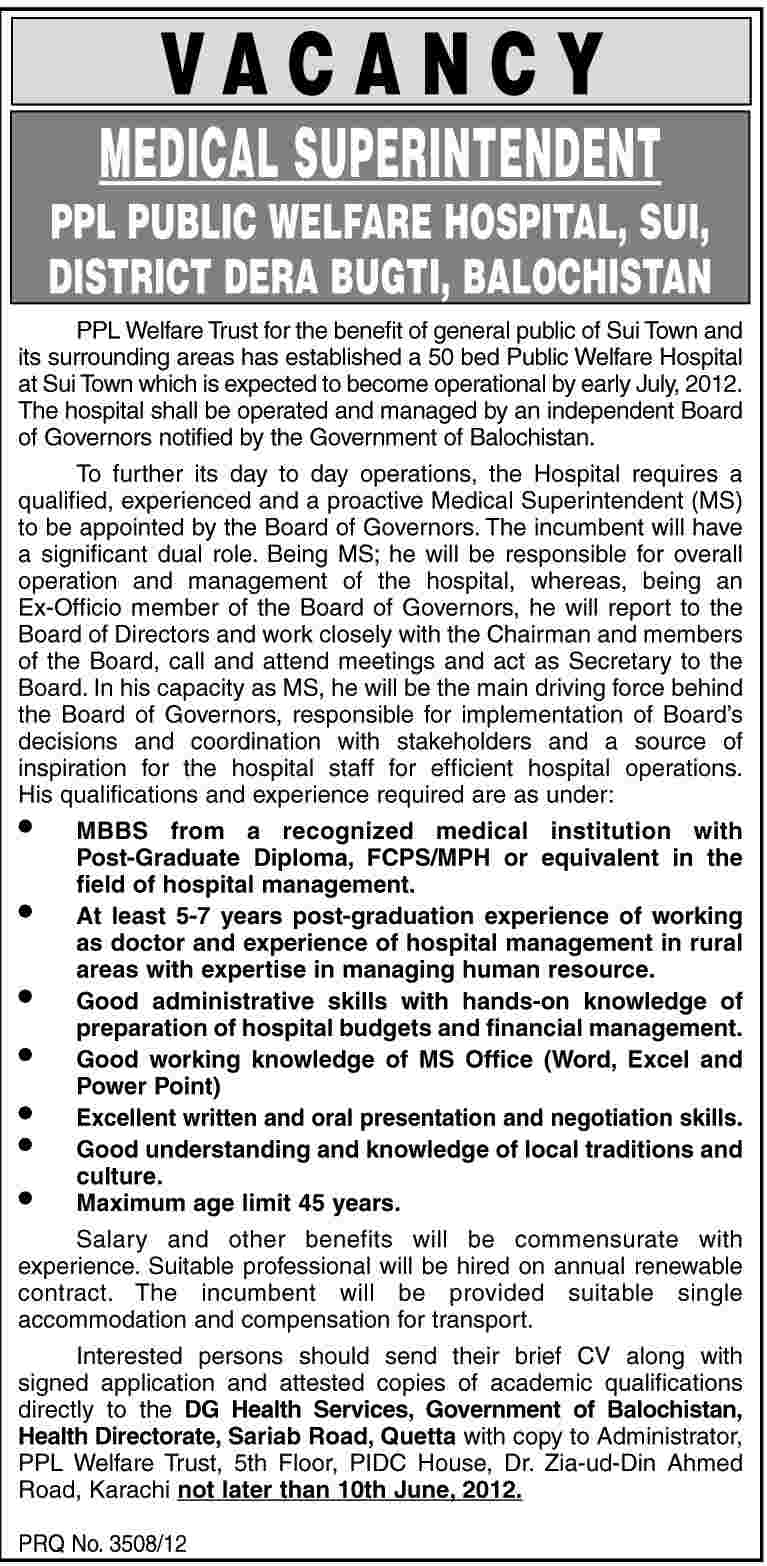 Medical Superintendent Required at PPL Public Welfare Hospital