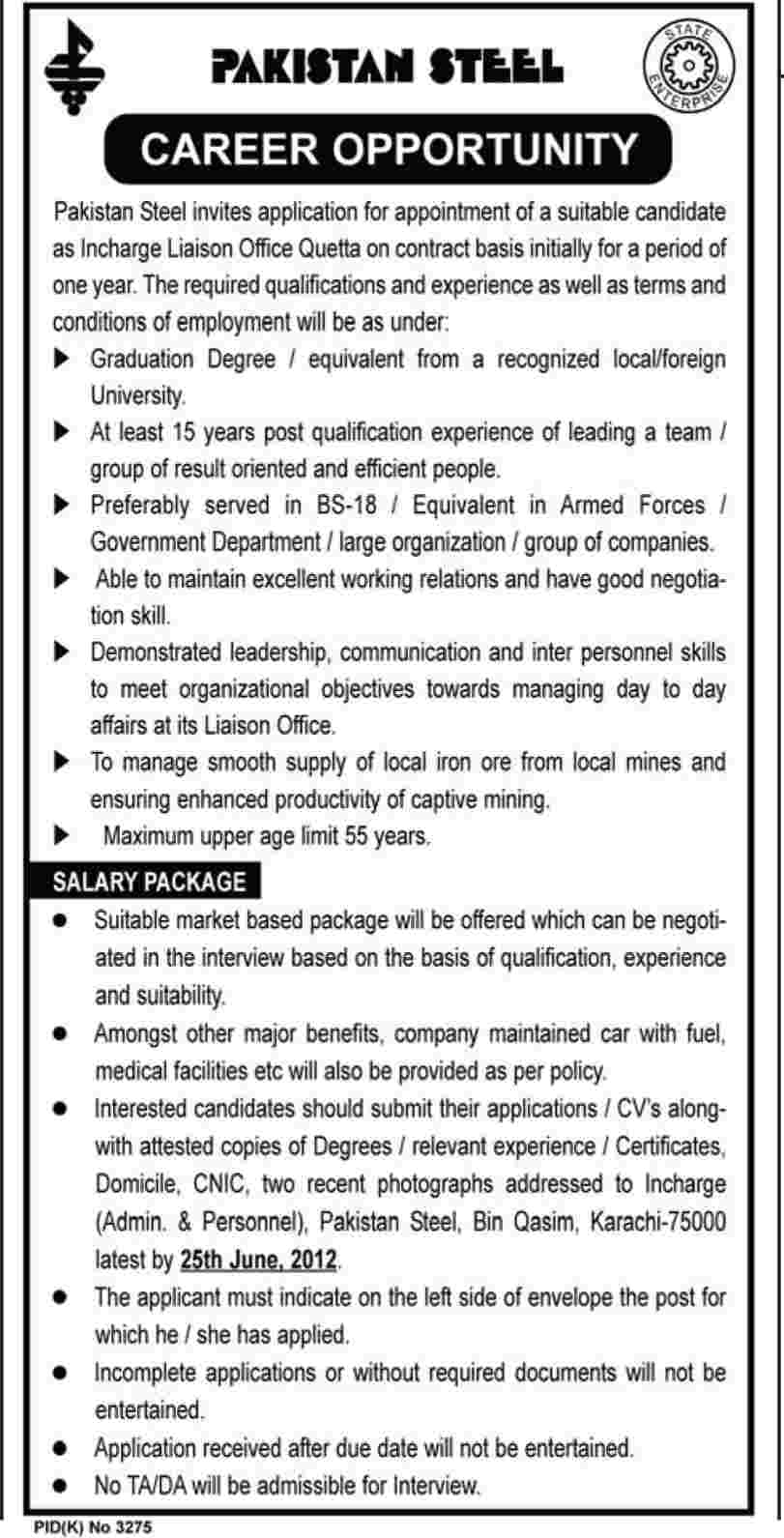 Incharge Liaison Required at Pakistan Steels