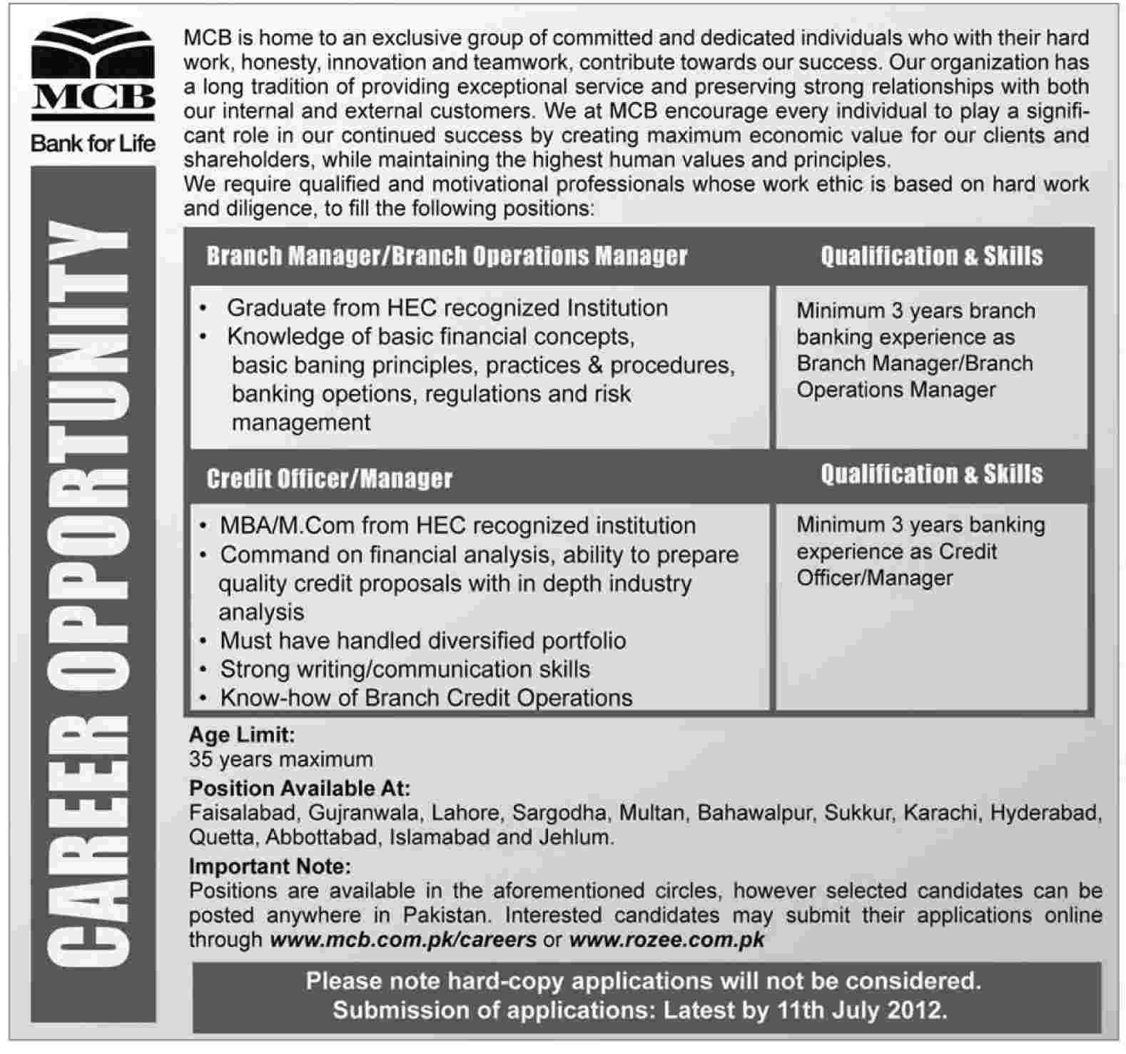 Mcb Muslim Commercial Bank Requires Branch Manager And