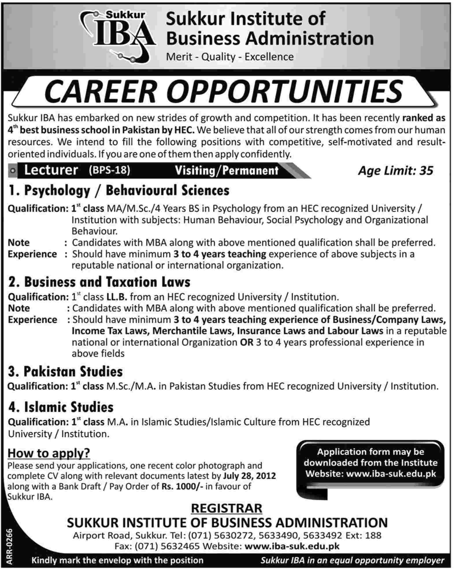 IBA Institute of Business Administration Sukkur Requires Teaching Staff