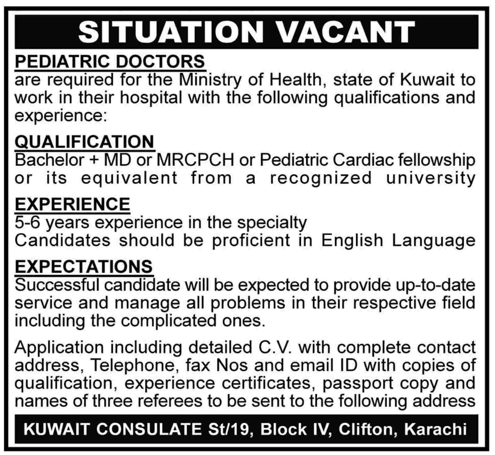Pediatric Doctors Required By Ministry Of Health State Of