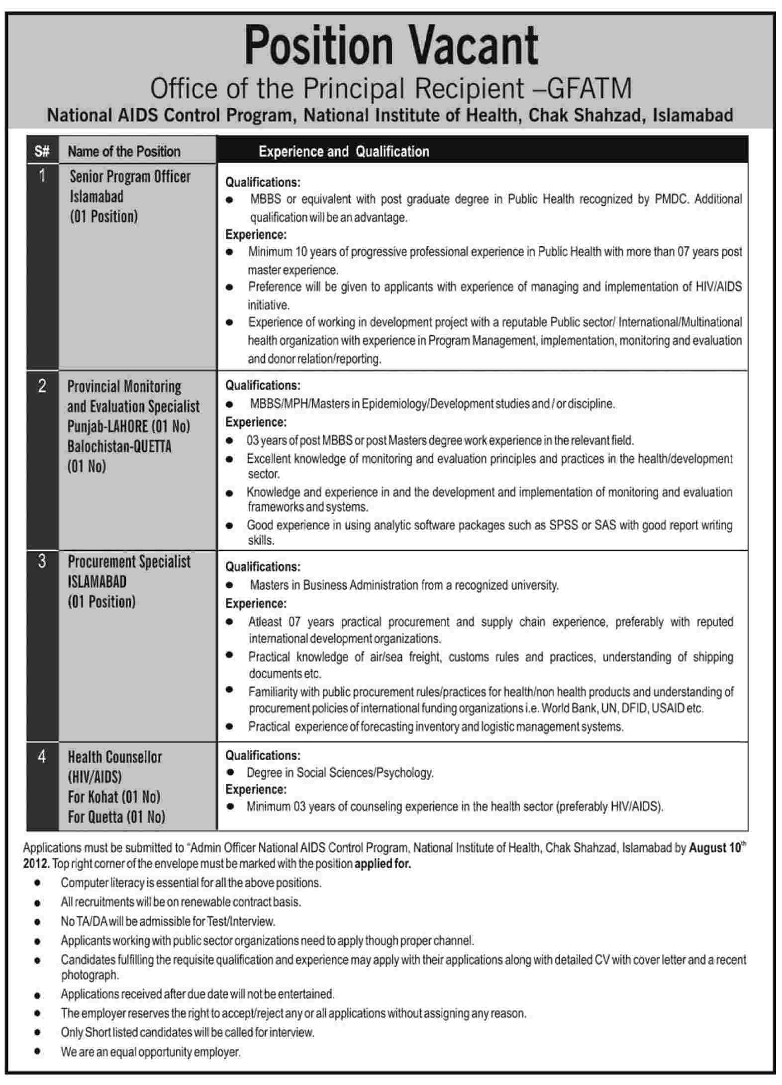 National AIDS Control Program, National Institute of Health Requires Management Staff and Health Counselor (