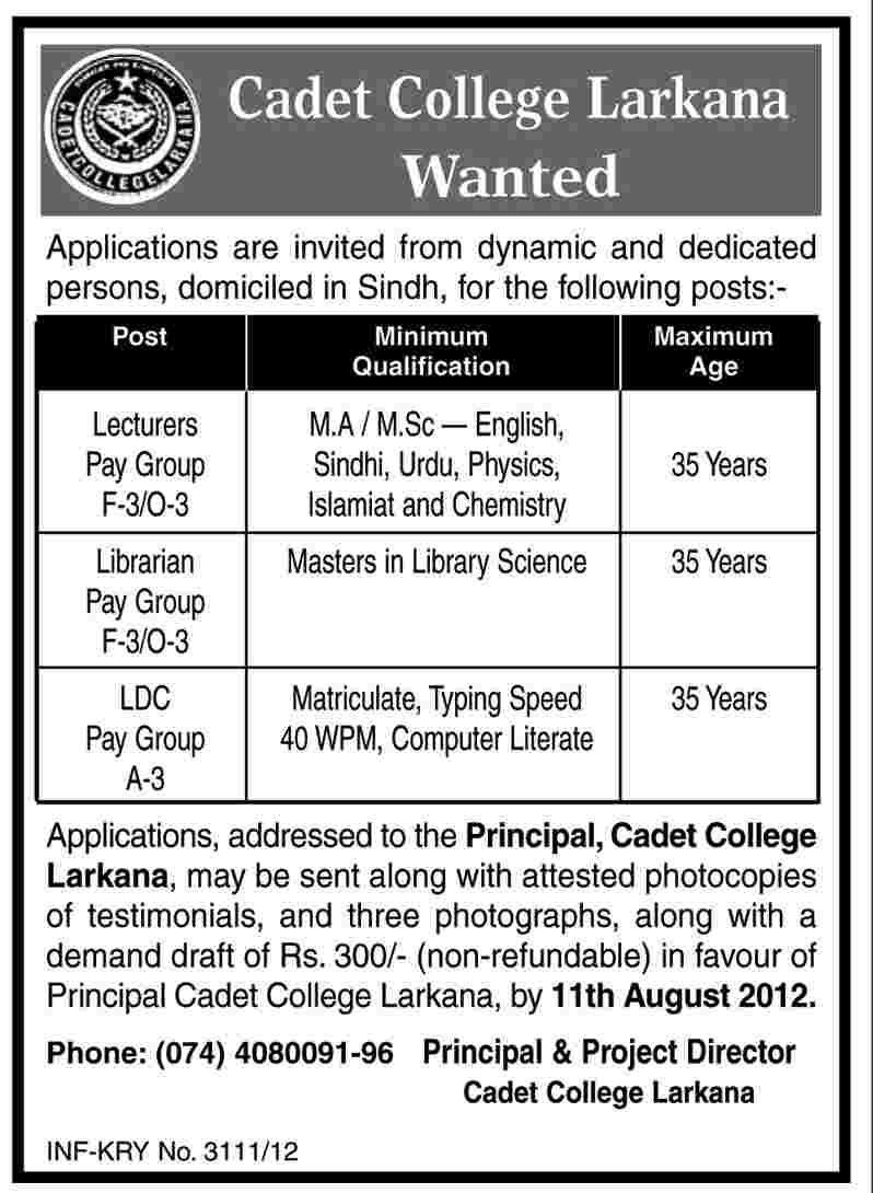 Cadet College Larkana Requires Teaching And Non Teaching