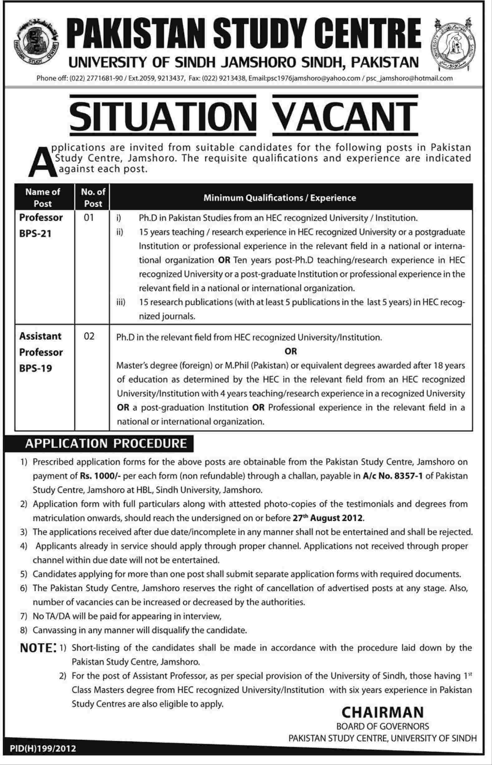 Teaching Faculty Required by Pakistan Study Centre, University of Sindh (Government Job)