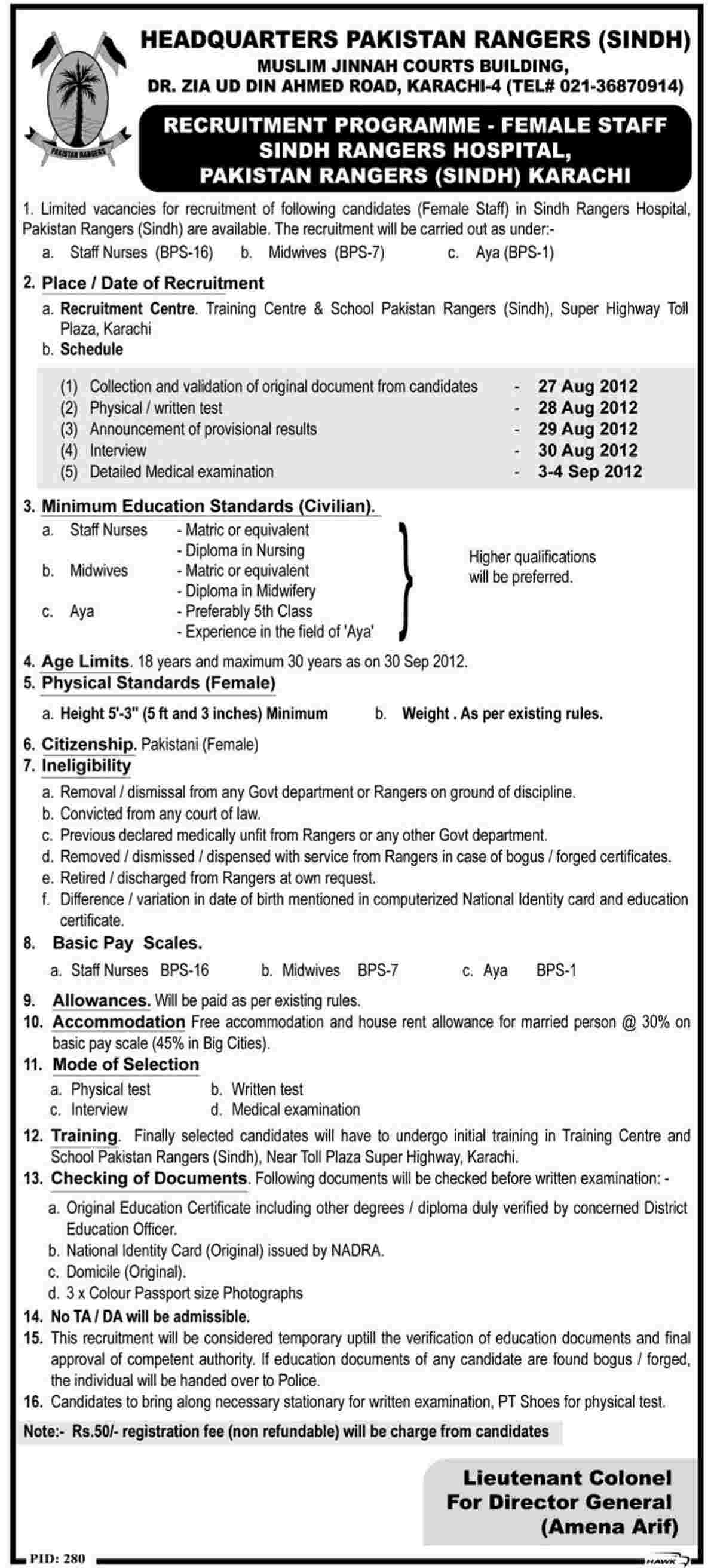 Join Pakistan Rangers Sindh as Ladies Staff Nurse, Midwife and Aya (Government Job)