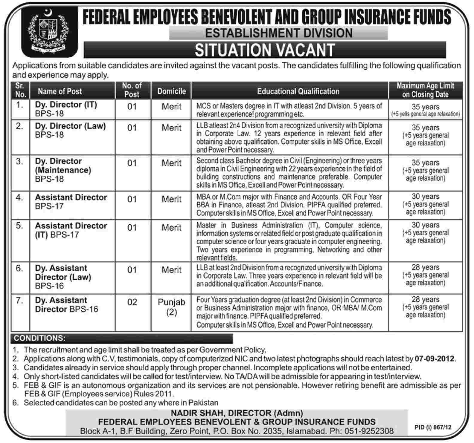Federal Employees Benevolent and Group Insurance Funds Establishment Division Jobs (Government Job)