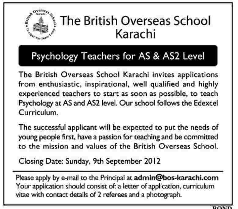 Psychology Teacher Required For The British Overseas