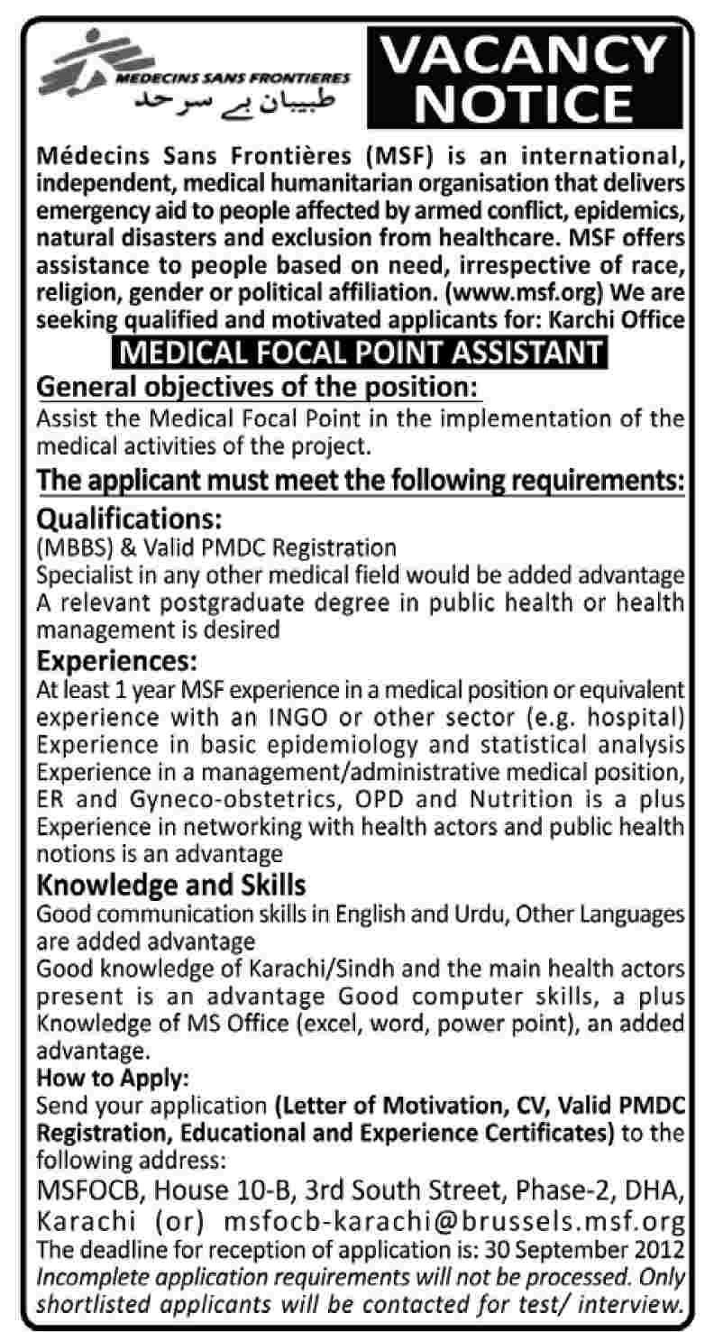 MSF Medecins Sans Frontiers (MSF) Requires Medical Focal Point Assistant (NGO Job)