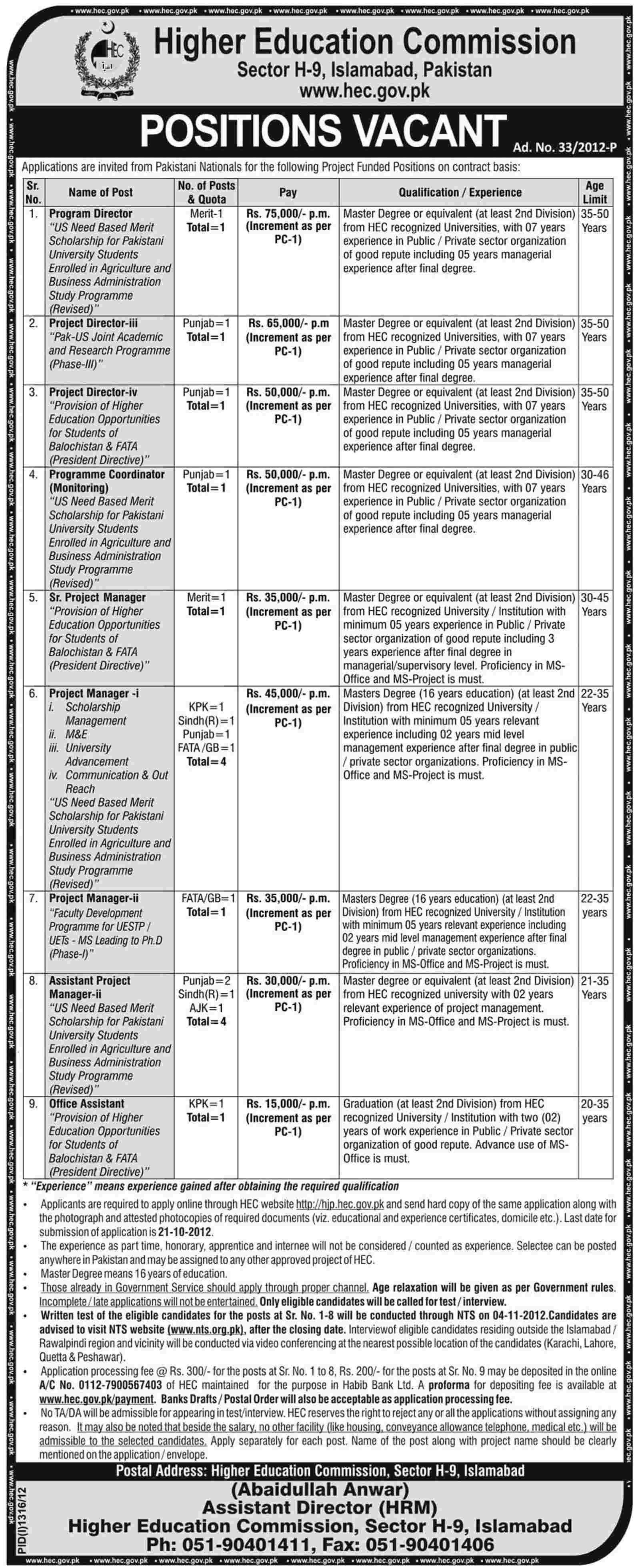 Higher Education Commission HEC Jobs (Government Job)