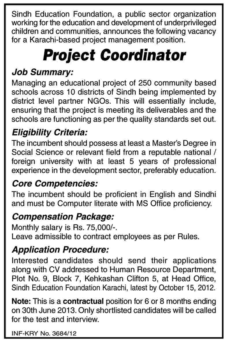 sindh education foundation sef requires project coordinator sindh education foundation sef requires project coordinator public sector job
