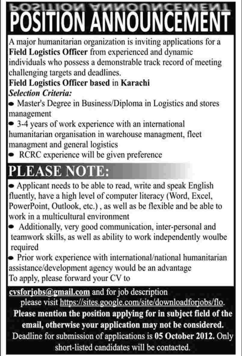 An NGO Requires Field Logistics Officer (NGO Job)
