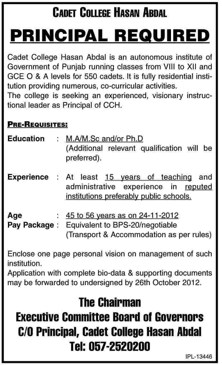 Principal Required By Cadet College Hasan Abdal CCH