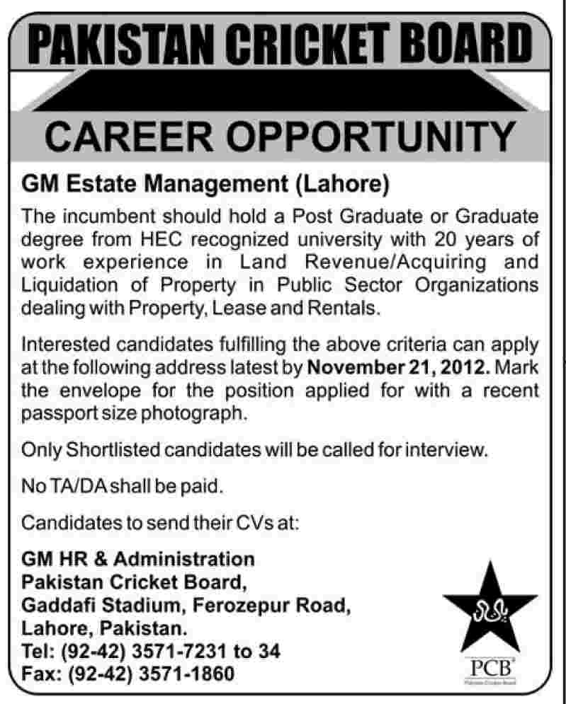 GM Estate Management Job in Pakistan Cricket Board (PCB)