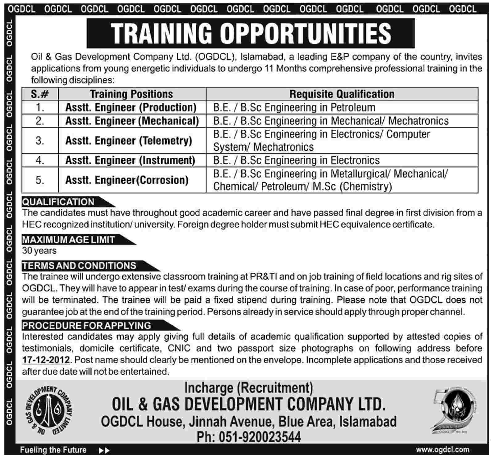 OGDCL Internships for Assistant Engineers