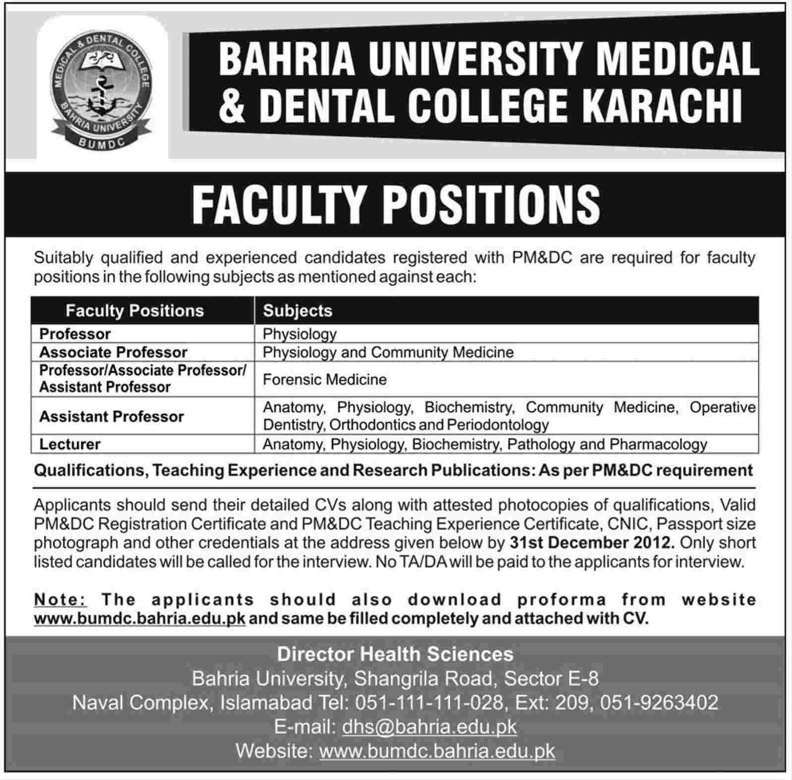 Bahria University Medical & Dental College Karachi Jobs 2012 for ...