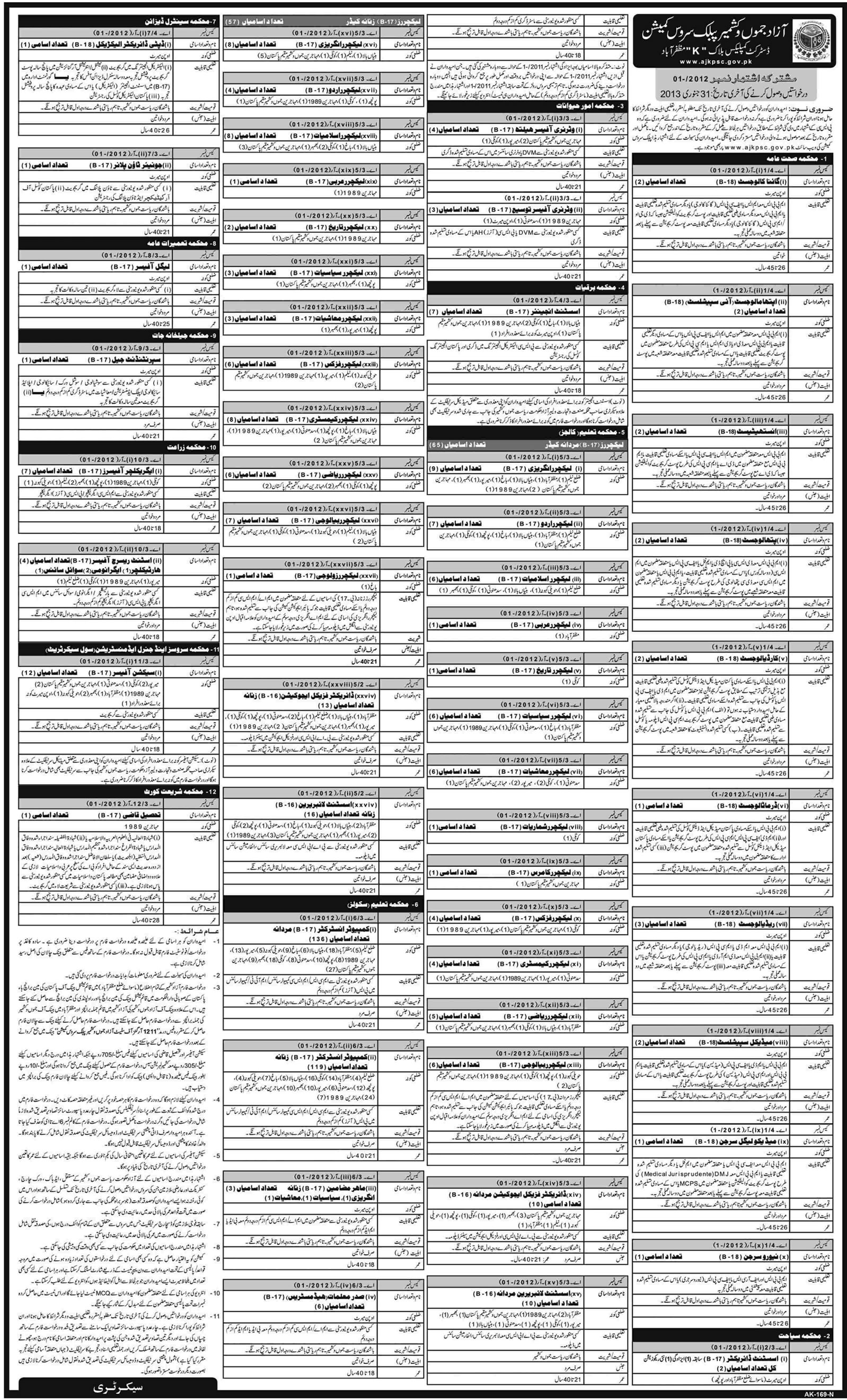 AJKPSC Jobs 2012 December Advertisement