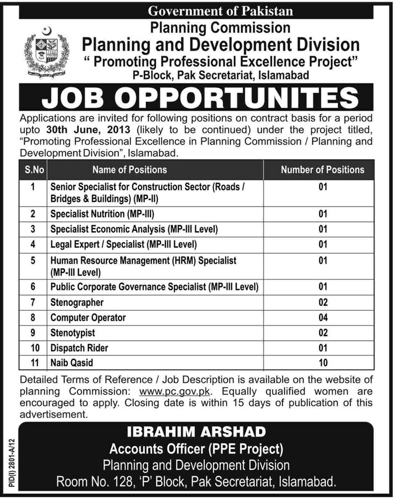Planning Commission of Pakistan Jobs 2012 in Planning & Development Division