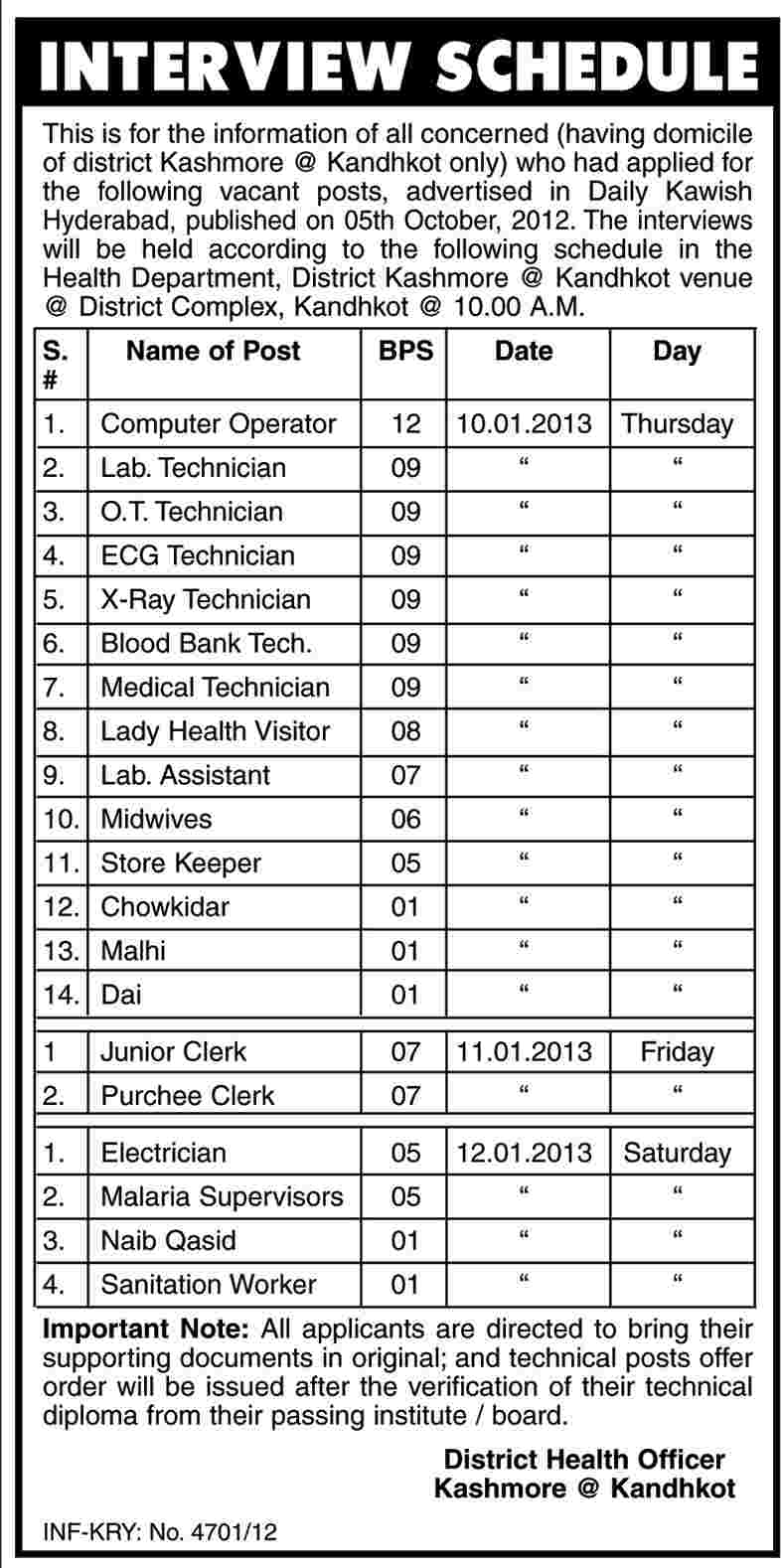 Health Department District Kashmore Job Interview Schedule at ...